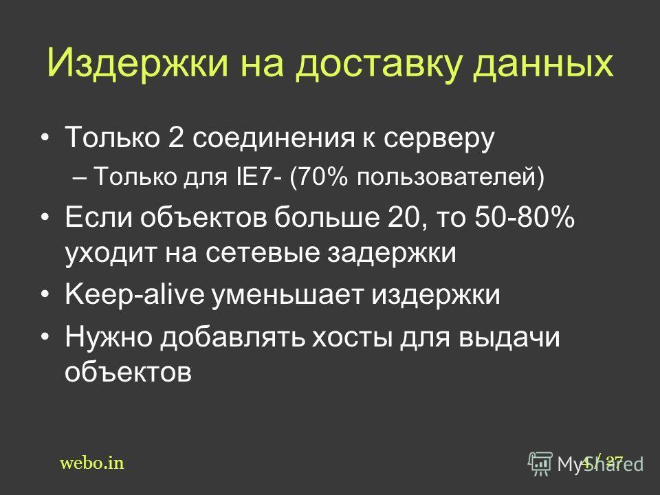 Издержки на доставку данных Только 2 соединения к серверу –Только для IE7- (70% пользователей) Если объектов больше 20, то 50-80% уходит на сетевые задержки Keep-alive уменьшает издержки Нужно добавлять хосты для выдачи объектов 4 / 27 webo.in