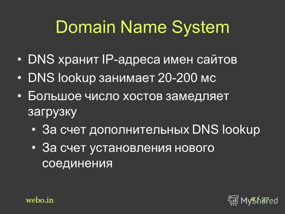 Domain Name System 9 / 27 webo.in DNS хранит IP-адреса имен сайтов DNS lookup занимает 20-200 мс Большое число хостов замедляет загрузку За счет дополнительных DNS lookup За счет установления нового соединения