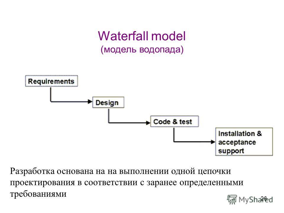 26 Waterfall model (модель водопада) Разработка основана на на выполнении одной цепочки проектирования в соответствии с заранее определенными требованиями