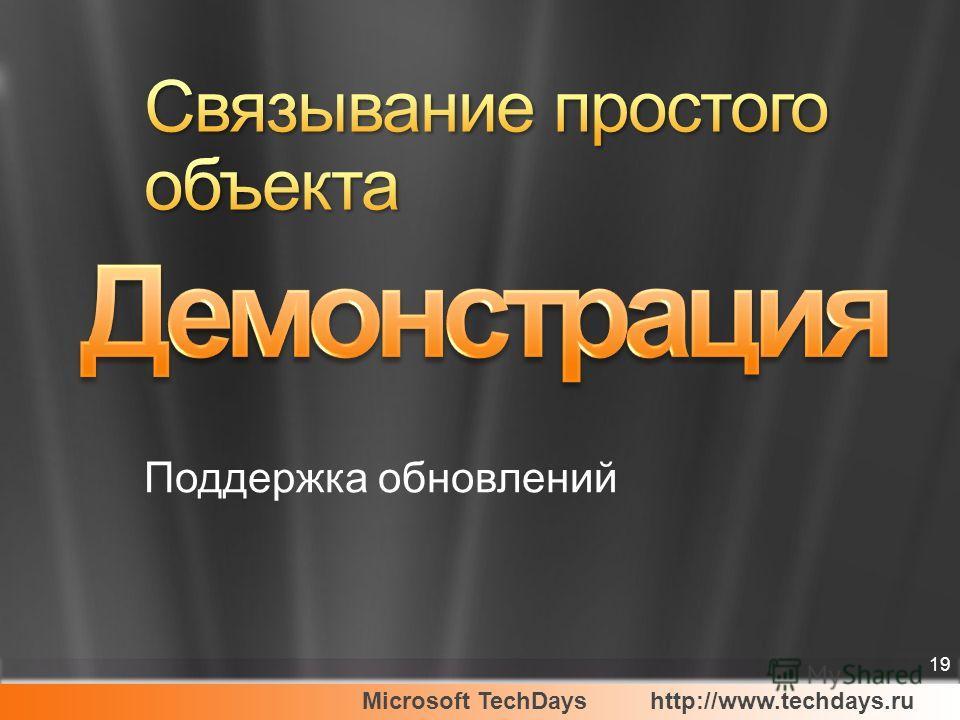 Microsoft TechDayshttp://www.techdays.ru 19 Поддержка обновлений