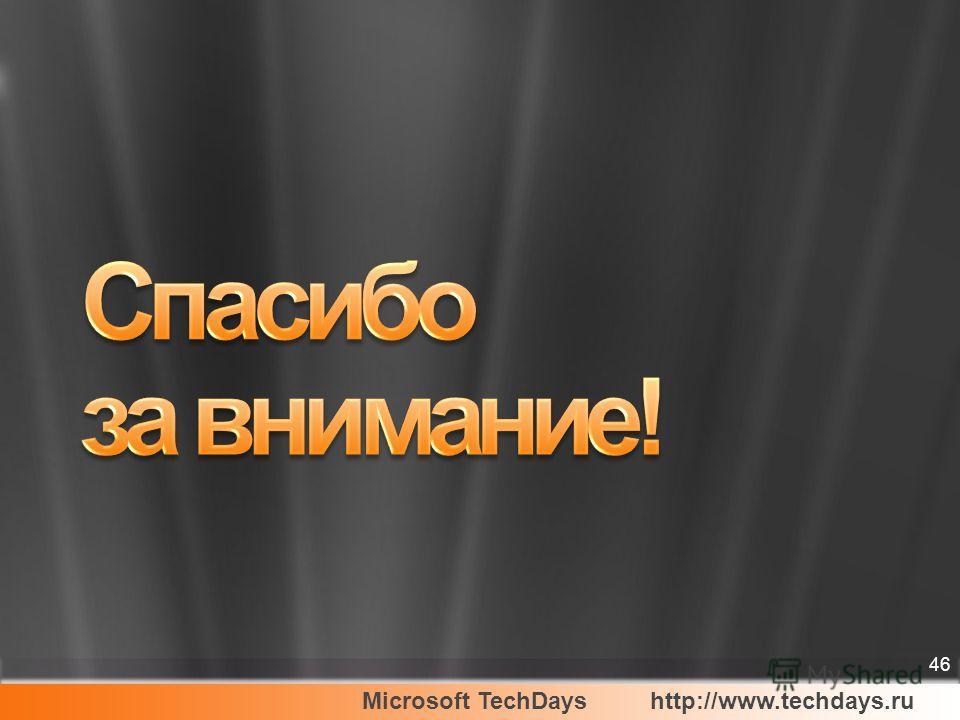 Microsoft TechDayshttp://www.techdays.ru 46