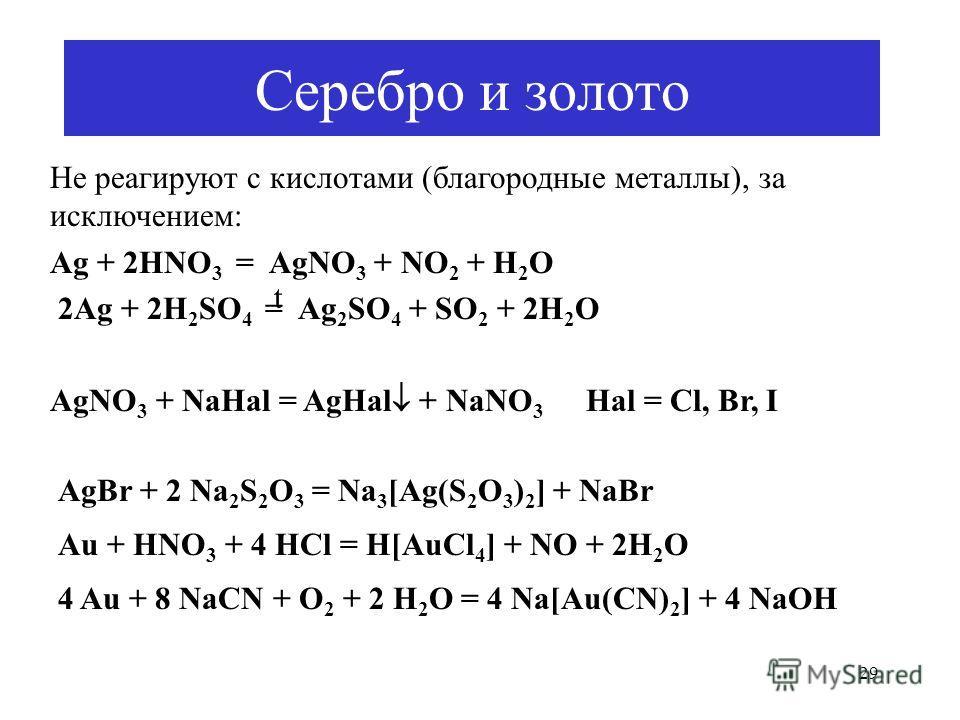 29 Серебро и золото AgBr + 2 Na 2 S 2 O 3 = Na 3 [Ag(S 2 O 3 ) 2 ] + NaBr Au + HNO 3 + 4 HCl = H[AuCl 4 ] + NO + 2H 2 O 4 Au + 8 NaCN + O 2 + 2 H 2 O = 4 Na[Au(CN) 2 ] + 4 NaOH Не реагируют с кислотами (благородные металлы), за исключением: Ag + 2HNO