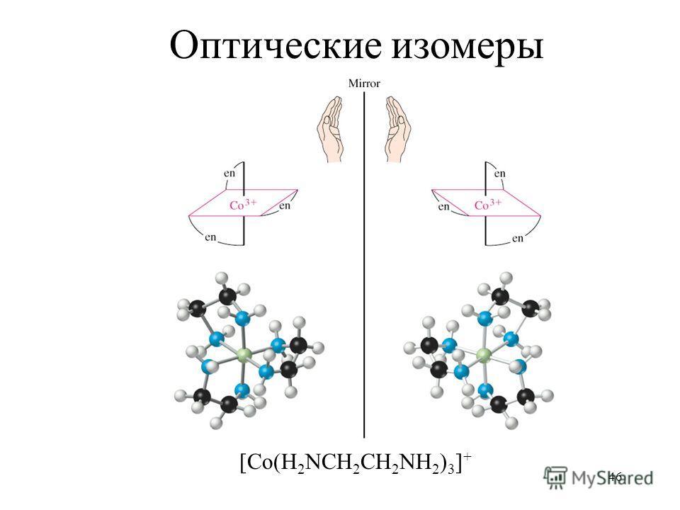 46 Оптические изомеры [Co(H 2 NCH 2 CH 2 NH 2 ) 3 ] +