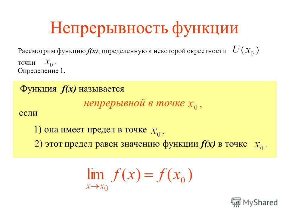 Непрерывность функции Рассмотрим функцию f(x), определенную в некоторой окрестности точки Функция f(x) называется 1) она имеет предел в точке если 2) этот предел равен значению функции f(x) в точке непрерывной в точке Определение 1.