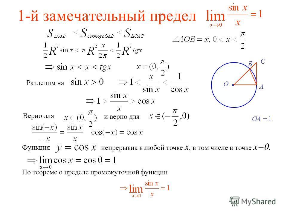 1-й замечательный предел. А В О С Разделим на Верно для и верно для Функция непрерывна в любой точке x, в том числе в точке x=0. По теореме о пределе промежуточной функции