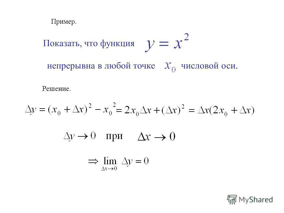 Пример. Показать, что функция непрерывна в любой точке числовой оси. Решение.