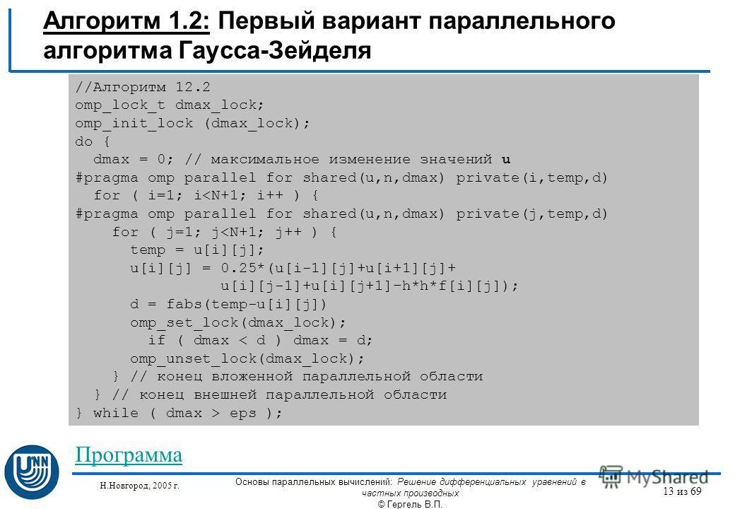 Н.Новгород, 2005 г. Основы параллельных вычислений: Решение дифференциальных уравнений в частных производных © Гергель В.П. 13 из 69 Алгоритм 1.2: Первый вариант параллельного алгоритма Гаусса-Зейделя //Алгоритм 12.2 omp_lock_t dmax_lock; omp_init_lo