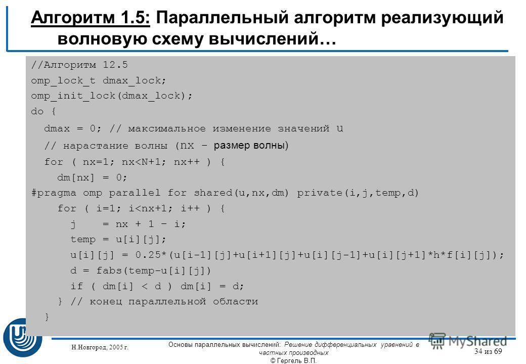Н.Новгород, 2005 г. Основы параллельных вычислений: Решение дифференциальных уравнений в частных производных © Гергель В.П. 34 из 69 Алгоритм 1.5: Параллельный алгоритм реализующий волновую схему вычислений… //Алгоритм 12.5 omp_lock_t dmax_lock; omp_