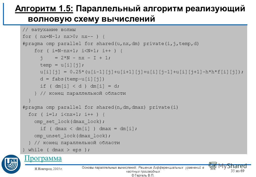 Н.Новгород, 2005 г. Основы параллельных вычислений: Решение дифференциальных уравнений в частных производных © Гергель В.П. 35 из 69 Алгоритм 1.5: Параллельный алгоритм реализующий волновую схему вычислений // затухание волны for ( nx=N-1; nx>0; nx--