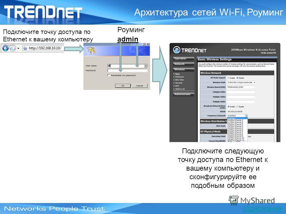Роуминг admin Подключите точку доступа по Ethernet к вашему компьютеру Подключите следующую точку доступа по Ethernet к вашему компьютеру и сконфигурируйте ее подобным образом Архитектура сетей Wi-Fi, Роуминг содержание