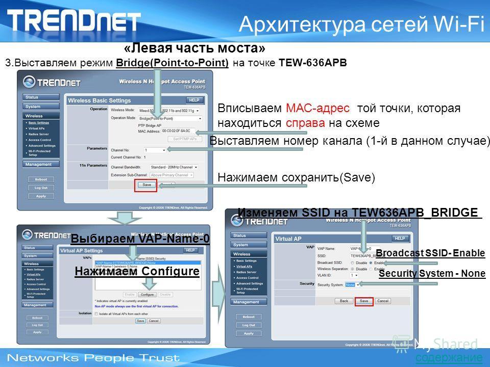 Архитектура сетей Wi-Fi 3.Выставляем режим Bridge(Point-to-Point) на точке TEW-636APB «Левая часть моста» Вписываем МАС-адрес той точки, которая находиться справа на схеме Выставляем номер канала (1-й в данном случае) Нажимаем сохранить(Save) Выбирае