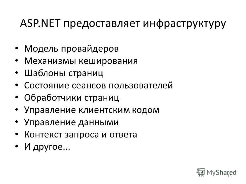 14 ASP.NET предоставляет инфраструктуру Модель провайдеров Механизмы кеширования Шаблоны страниц Состояние сеансов пользователей Обработчики страниц Управление клиентским кодом Управление данными Контекст запроса и ответа И другое...
