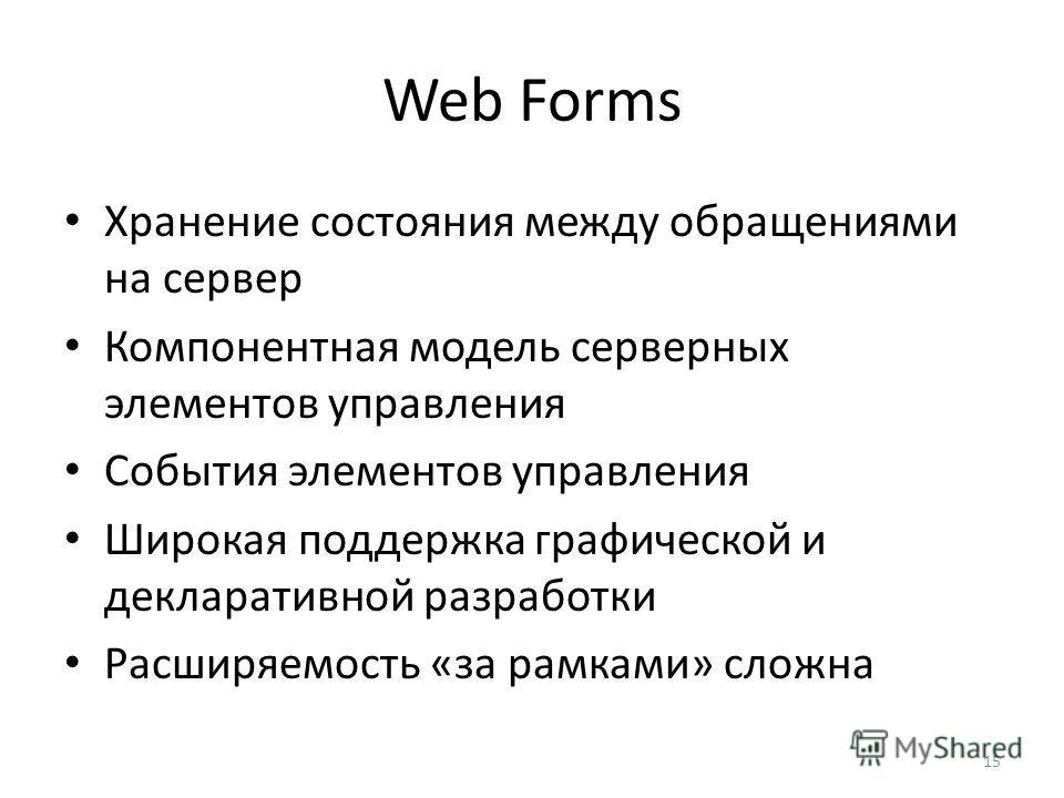 15 Web Forms Хранение состояния между обращениями на сервер Компонентная модель серверных элементов управления События элементов управления Широкая поддержка графической и декларативной разработки Расширяемость «за рамками» сложна