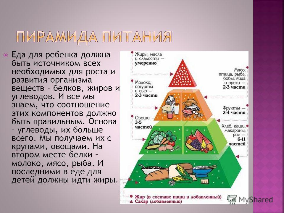 Еда для ребенка должна быть источником всех необходимых для роста и развития организма веществ – белков, жиров и углеводов. И все мы знаем, что соотношение этих компонентов должно быть правильным. Основа – углеводы, их больше всего. Мы получаем их с