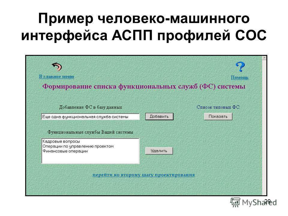 29 Пример человеко-машинного интерфейса АСПП профилей СОС