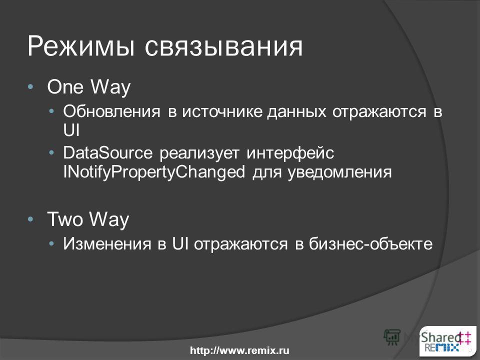 Режимы связывания One Way Обновления в источнике данных отражаются в UI DataSource реализует интерфейс INotifyPropertyChanged для уведомления Two Way Изменения в UI отражаются в бизнес-объекте http://www.remix.ru