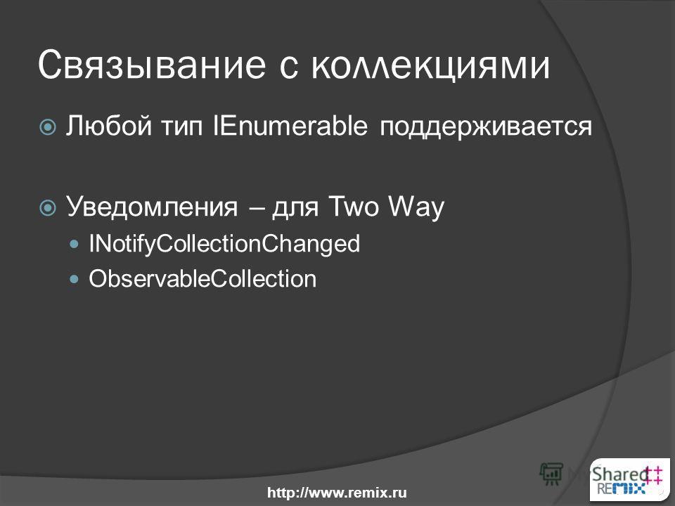 Связывание с коллекциями Любой тип IEnumerable поддерживается Уведомления – для Two Way INotifyCollectionChanged ObservableCollection http://www.remix.ru