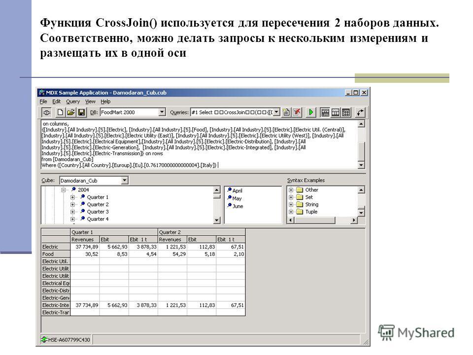 Функция CrossJoin() используется для пересечения 2 наборов данных. Соответственно, можно делать запросы к нескольким измерениям и размещать их в одной оси