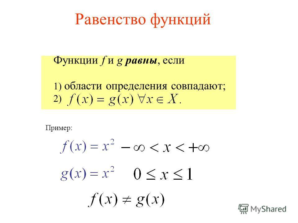 Функции f и g равны, если 1) области определения совпадают; 2) Пример: Равенство функций