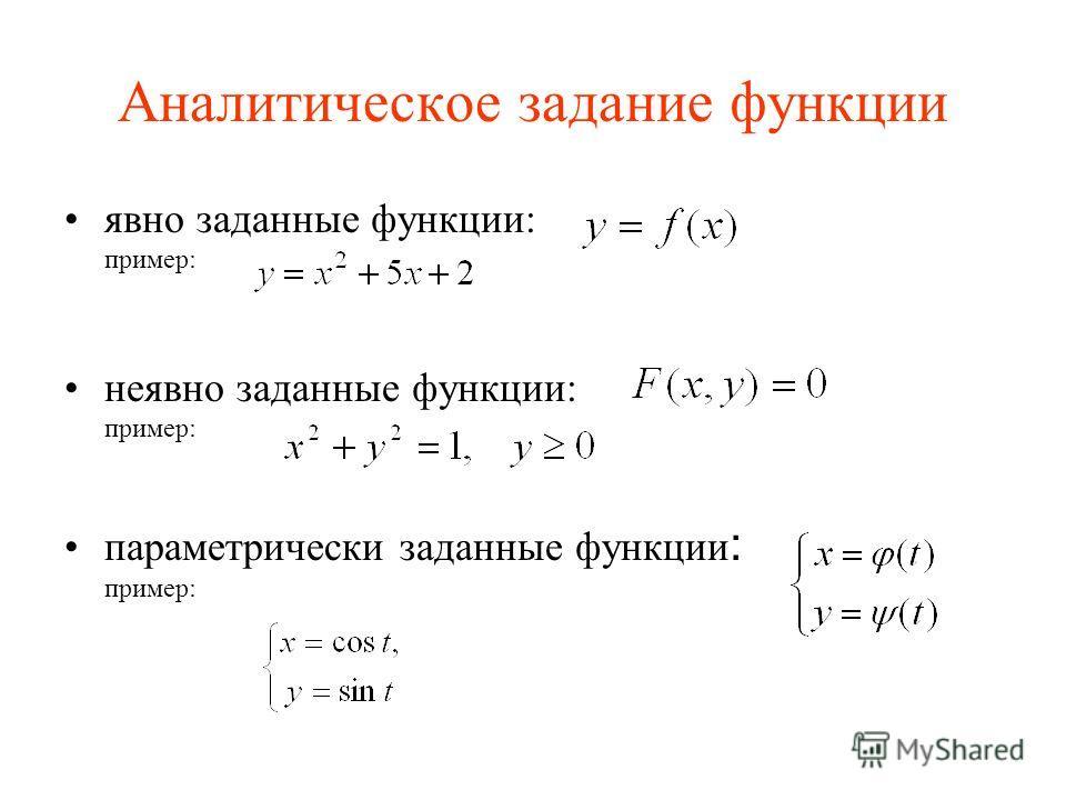 Аналитическое задание функции явно заданные функции: пример: неявно заданные функции: пример: параметрически заданные функции : пример: