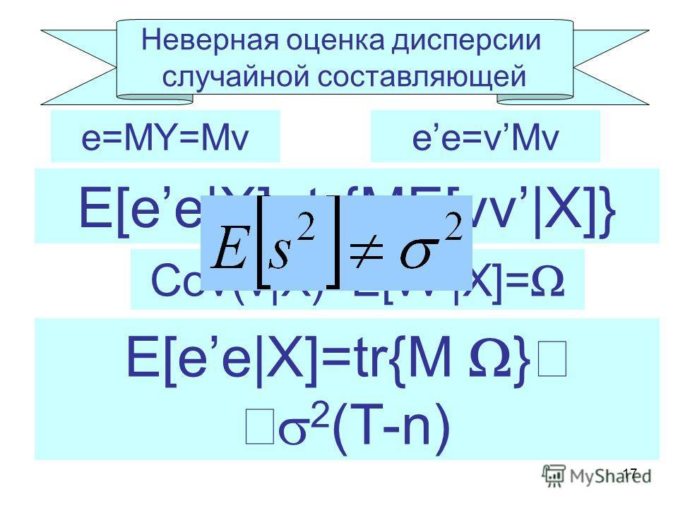 17 Неверная оценка дисперсии случайной составляющей e=MY=Mv E[ee|X]=tr{ME[vv|X]} ee=vMv Cov(v|X)=E[vv|X]= E[ee|X]=tr{M } 2 (T-n)
