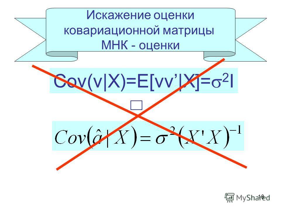 18 Искажение оценки ковариационной матрицы МНК - оценки Cov(v|X)=E[vv|X]= 2 I