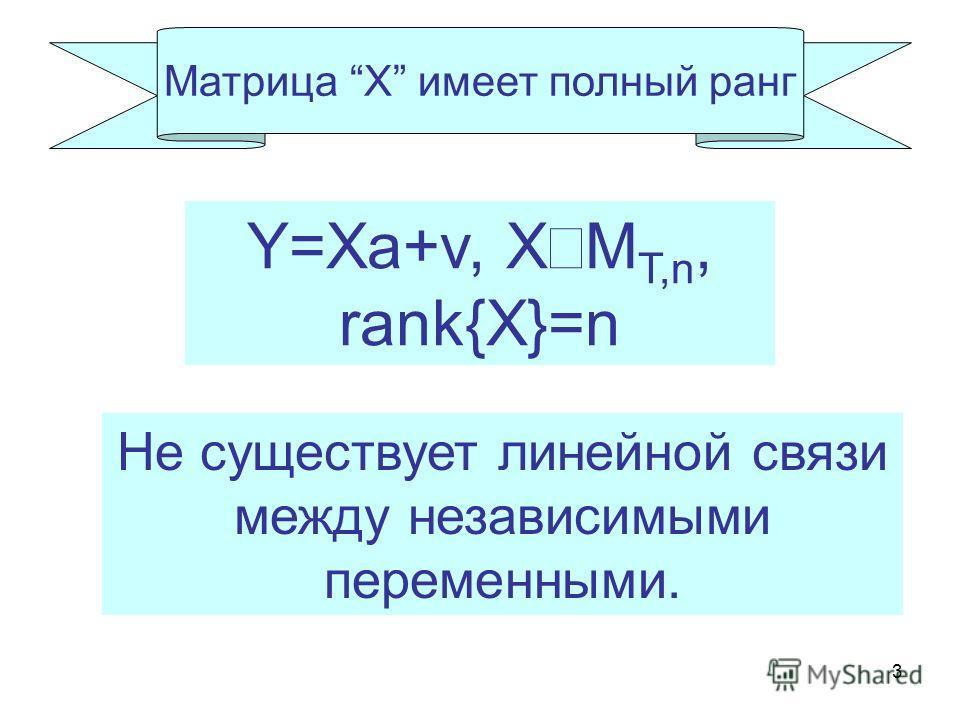 3 Матрица X имеет полный ранг Не существует линейной связи между независимыми переменными. Y=Xa+v, X M T,n, rank{X}=n
