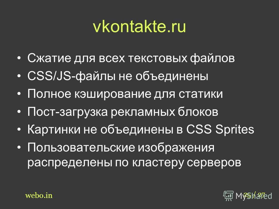 vkontakte.ru Сжатие для всех текстовых файлов CSS/JS-файлы не объединены Полное кэширование для статики Пост-загрузка рекламных блоков Картинки не объединены в CSS Sprites Пользовательские изображения распределены по кластеру серверов 25 / 27 webo.in