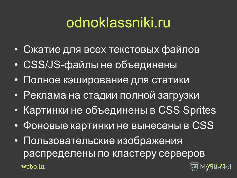 odnoklassniki.ru Сжатие для всех текстовых файлов CSS/JS-файлы не объединены Полное кэширование для статики Реклама на стадии полной загрузки Картинки не объединены в CSS Sprites Фоновые картинки не вынесены в CSS Пользовательские изображения распред