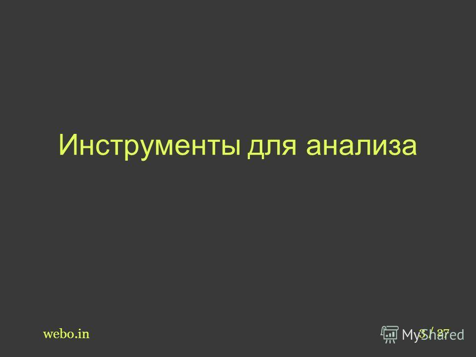 Инструменты для анализа webo.in 3 / 27