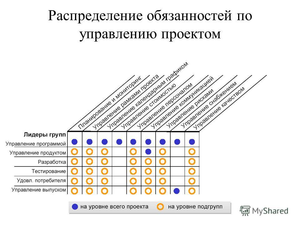 Распределение обязанностей по управлению проектом