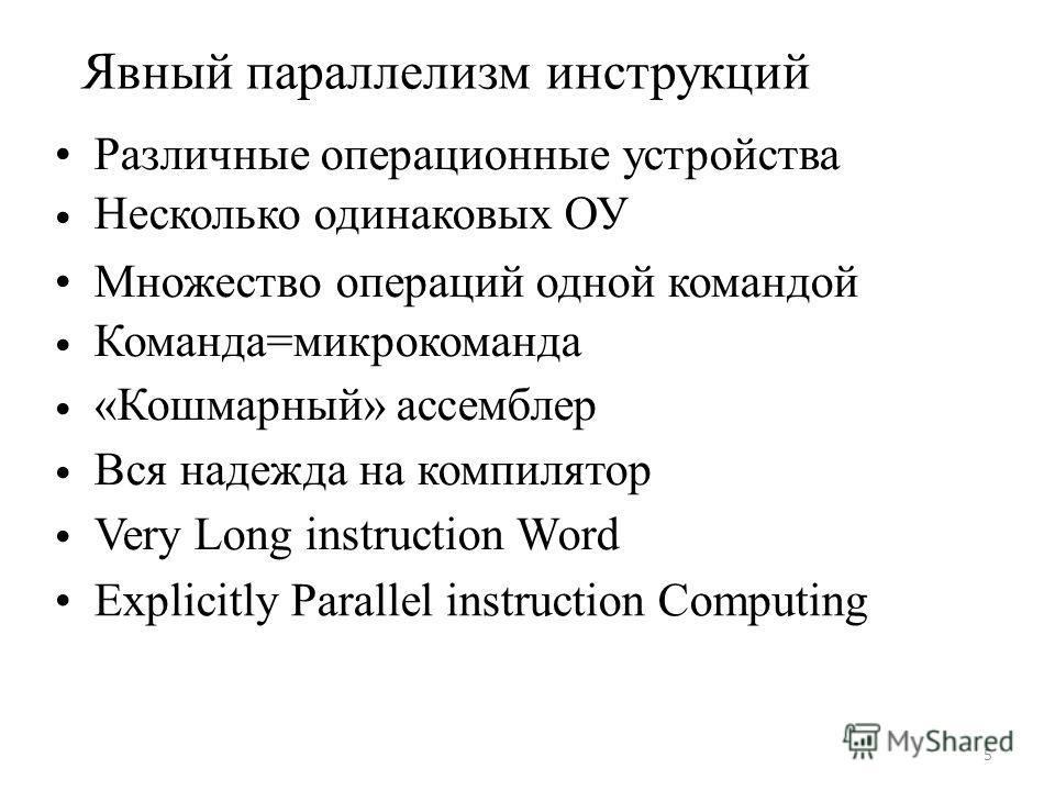 Явный параллелизм инструкций Различные операционные устройства Несколько одинаковых ОУ Множество операций одной командой Команда=микрокоманда «Кошмарный» ассемблер Вся надежда на компилятор Very Long instruction Word Explicitly Parallel instruction C