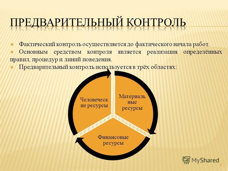 Фактический контроль осуществляется до фактического начала работ. Основным средством контроля является реализация определённых правил, процедур и линий поведения. Предварительный контроль используется в трёх областях: 8 Материаль ные ресурсы Финансов