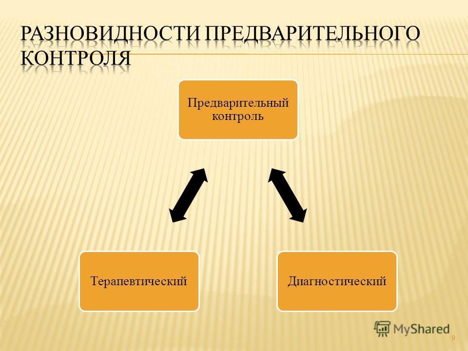 Предварительный контроль ДиагностическийТерапевтический 9