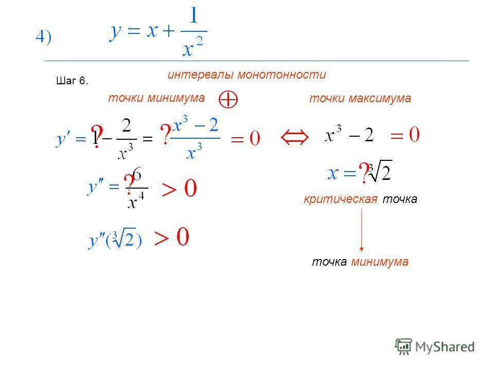 Шаг 6. интервалы монотонности точки максимума точки минимума критическая точка точка минимума