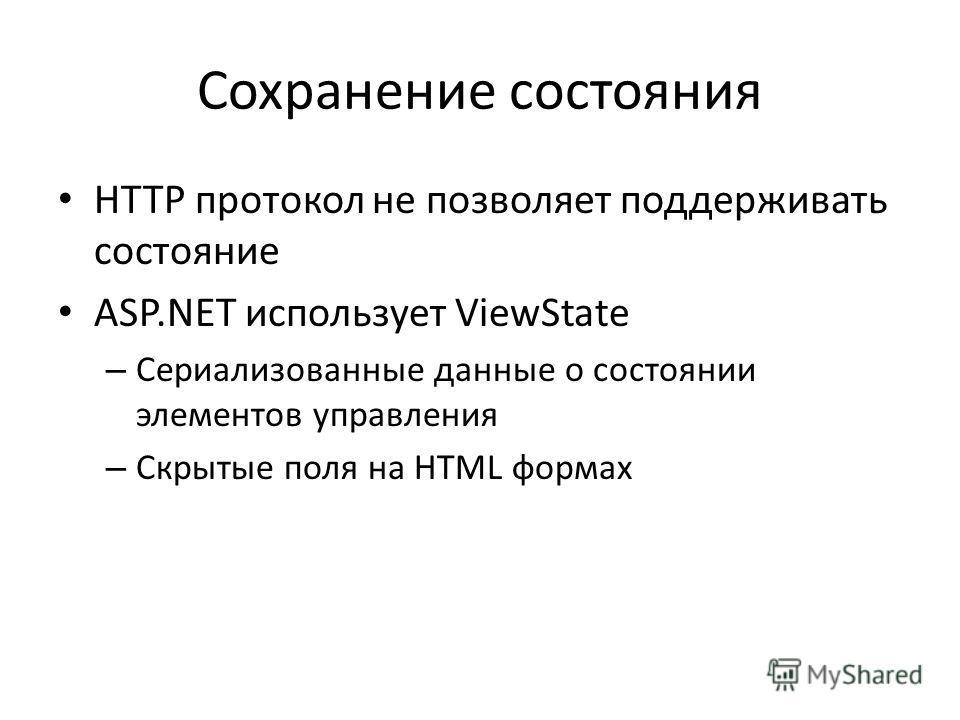 Сохранение состояния HTTP протокол не позволяет поддерживать состояние ASP.NET использует ViewState – Сериализованные данные о состоянии элементов управления – Скрытые поля на HTML формах