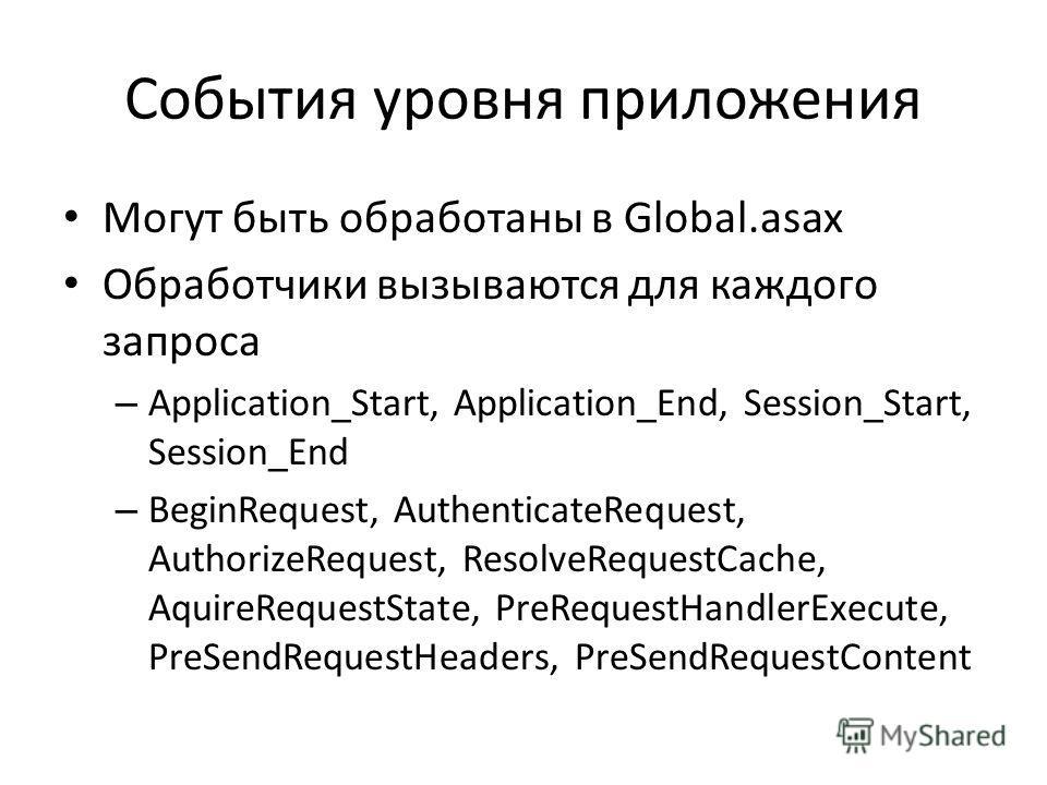 События уровня приложения Могут быть обработаны в Global.asax Обработчики вызываются для каждого запроса – Application_Start, Application_End, Session_Start, Session_End – BeginRequest, AuthenticateRequest, AuthorizeRequest, ResolveRequestCache, Aqui