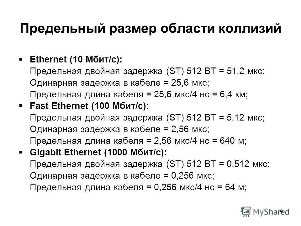 4 Предельный размер области коллизий Ethernet (10 Мбит/с): Предельная двойная задержка (ST) 512 BT = 51,2 мкс; Одинарная задержка в кабеле = 25,6 мкс; Предельная длина кабеля = 25,6 мкс/4 нс = 6,4 км; Fast Ethernet (100 Мбит/с): Предельная двойная за