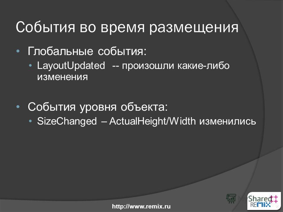 События во время размещения Глобальные события: LayoutUpdated -- произошли какие-либо изменения События уровня объекта: SizeChanged – ActualHeight/Width изменились http://www.remix.ru