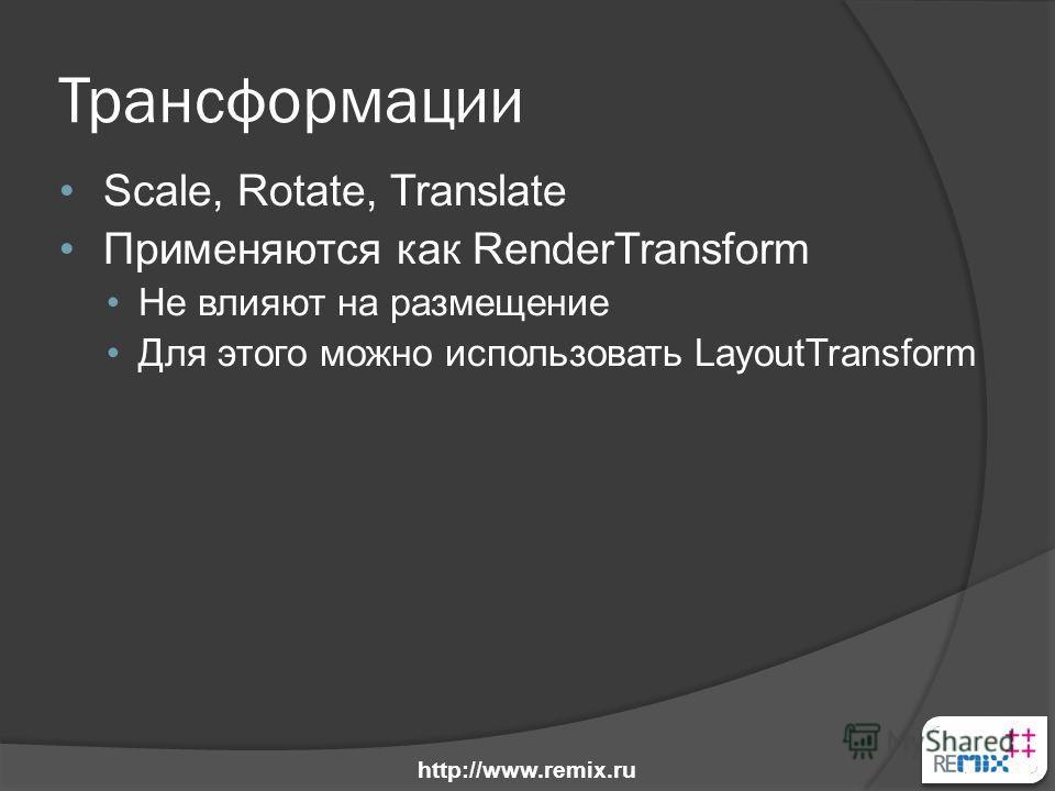 Трансформации Scale, Rotate, Translate Применяются как RenderTransform Не влияют на размещение Для этого можно использовать LayoutTransform http://www.remix.ru