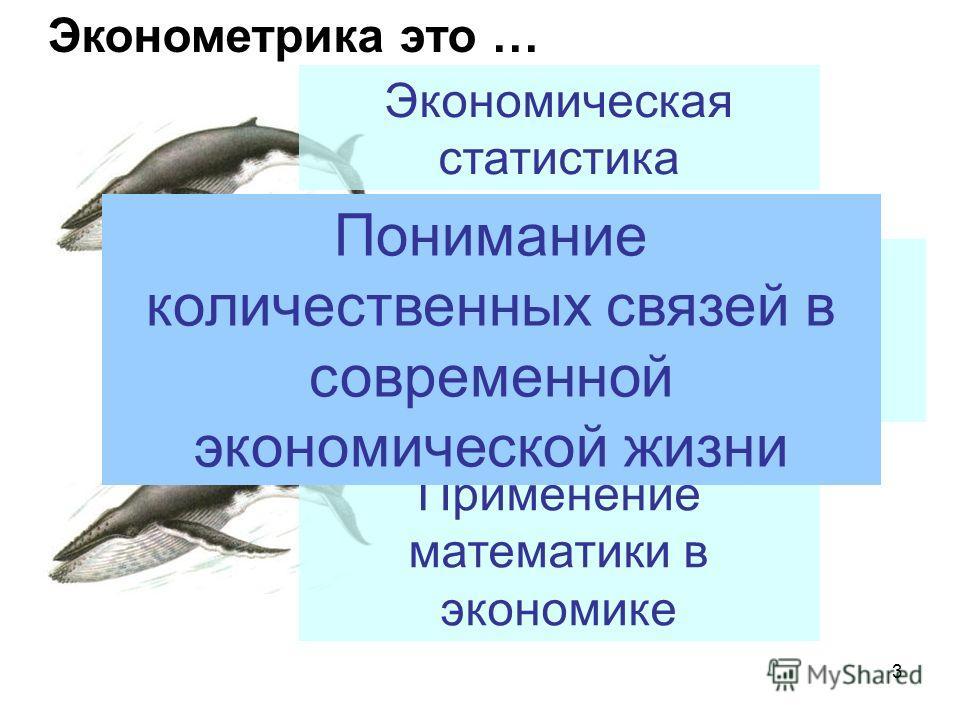 3 Эконометрика это … Общая экономическая теория Экономическая статистика Применение математики в экономике Понимание количественных связей в современной экономической жизни