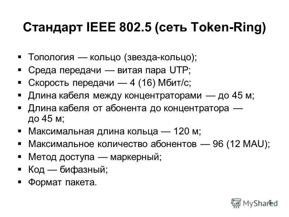 5 Стандарт IEEE 802.5 (сеть Token-Ring) Топология кольцо (звезда-кольцо); Среда передачи витая пара UTP; Скорость передачи 4 (16) Мбит/с; Длина кабеля между концентраторами до 45 м; Длина кабеля от абонента до концентратора до 45 м; Максимальная длин