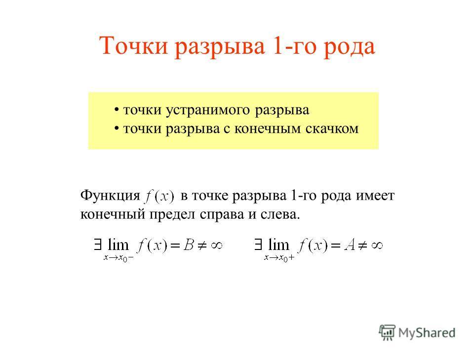 Точки разрыва 1-го рода точки устранимого разрыва точки разрыва с конечным скачком Функция в точке разрыва 1-го рода имеет конечный предел справа и слева.