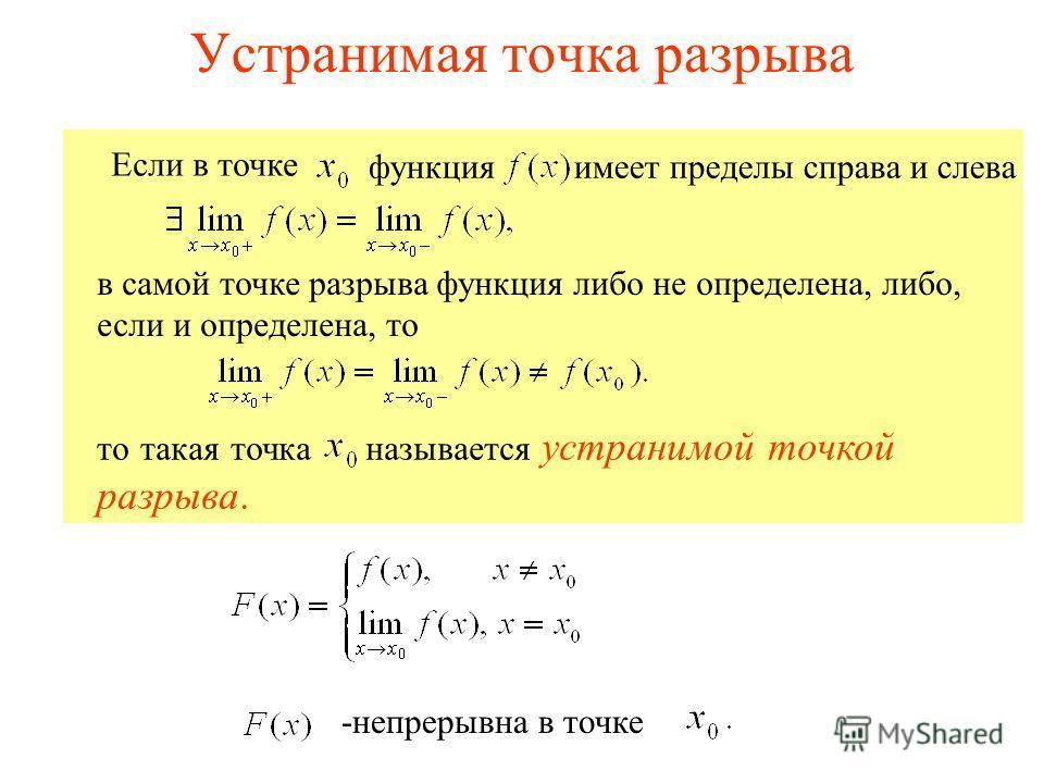 Устранимая точка разрыва в самой точке разрыва функция либо не определена, либо, если и определена, то то такая точка называется устранимой точкой разрыва. Если в точке функцияимеет пределы справа и слева -непрерывна в точке