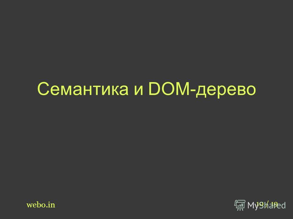 Семантика и DOM-дерево webo.in 10 / 19