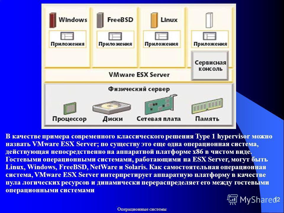 Операционные системы 12 В качестве примера современного классического решения Type 1 hypervisor можно назвать VMware ESX Server; по существу это еще одна операционная система, действующая непосредственно на аппаратной платформе x86 в чистом виде. Гос