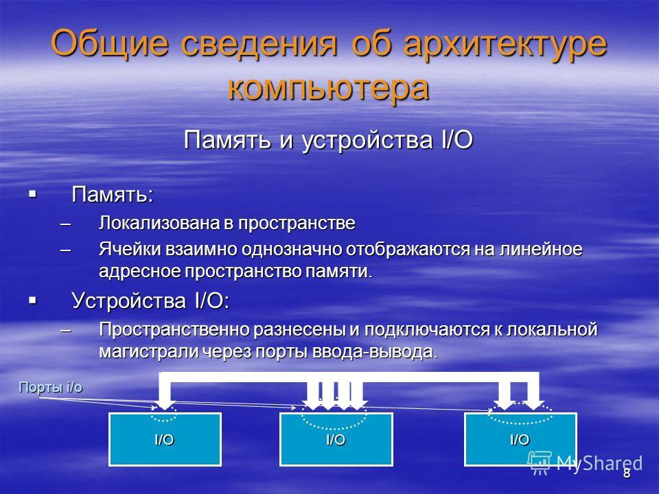 8 Общие сведения об архитектуре компьютера Память и устройства I/O Память: Память: –Локализована в пространстве –Ячейки взаимно однозначно отображаются на линейное адресное пространство памяти. Устройства I/O: Устройства I/O: –Пространственно разнесе