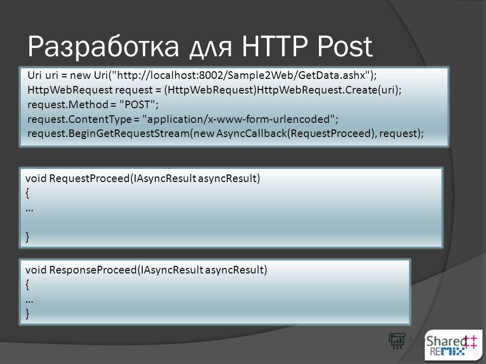 Разработка для HTTP Post Uri uri = new Uri(