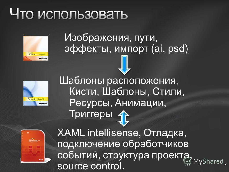 7 Изображения, пути, эффекты, импорт (ai, psd) Шаблоны расположения, Кисти, Шаблоны, Стили, Ресурсы, Анимации, Триггеры XAML intellisense, Отладка, подключение обработчиков событий, структура проекта, source control.
