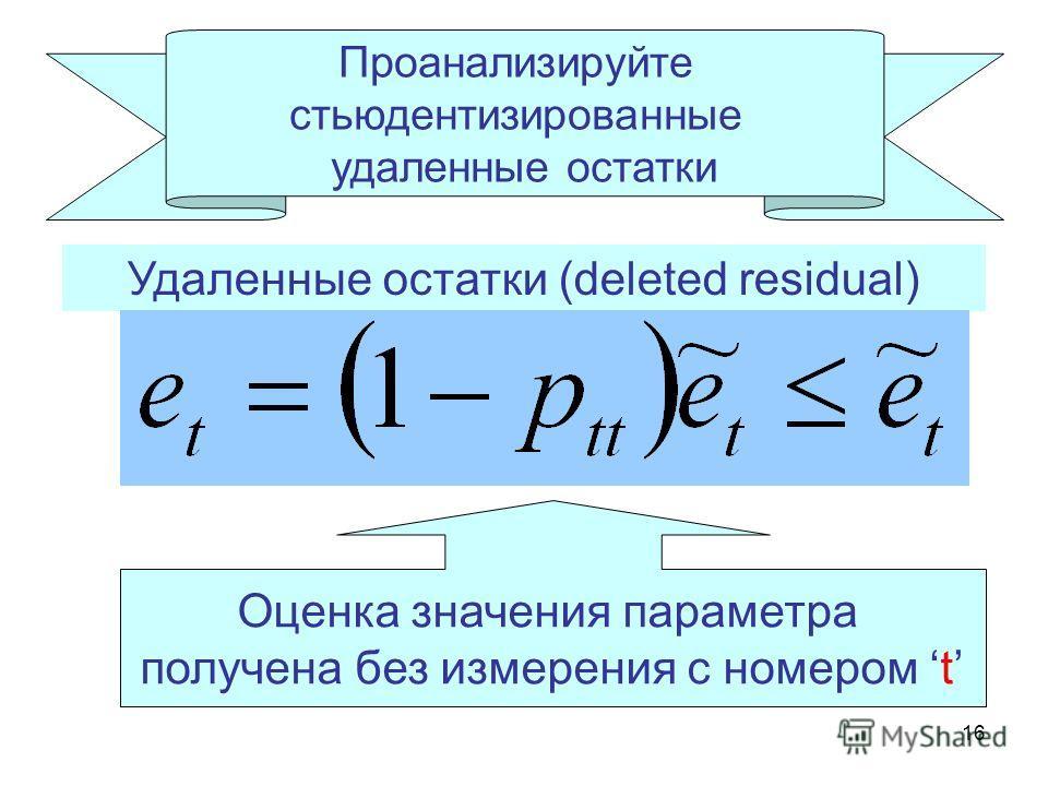 16 Проанализируйте стьюдентизированные удаленные остатки Удаленные остатки (deleted residual) Оценка значения параметра получена без измерения с номером t